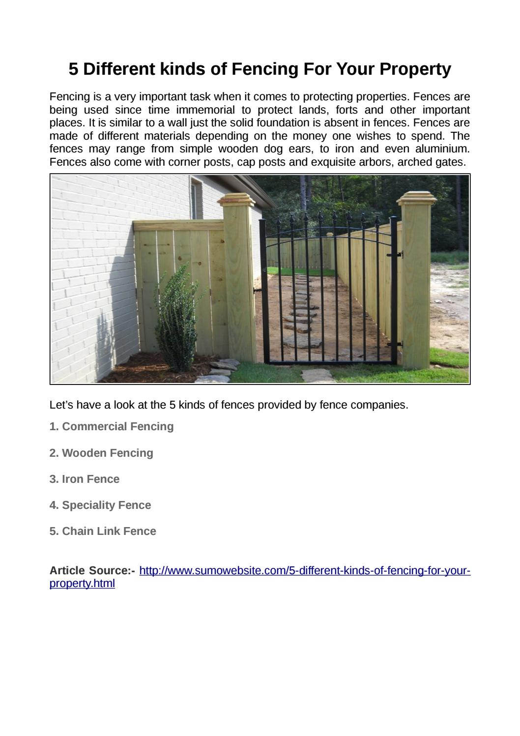 5 Different Kinds Of Fencing For Your Property By Ingle Fence Co Issuu