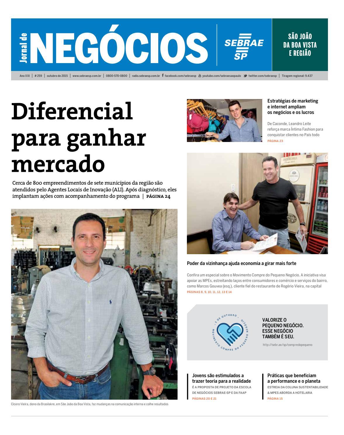 ab4c7f066c Jornal de Negócios Sebrae-SP - 01 de outubro de 2015 – São João da Boa  Vista by Sebrae-SP - issuu