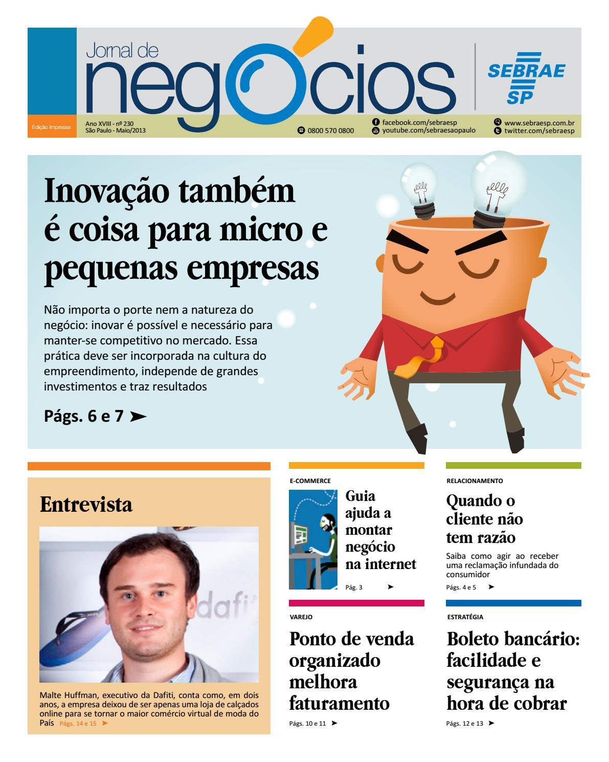 84ef787f1e5 Jornal de Negócios Sebrae-SP - 01 de maio de 2013 by Sebrae-SP - issuu