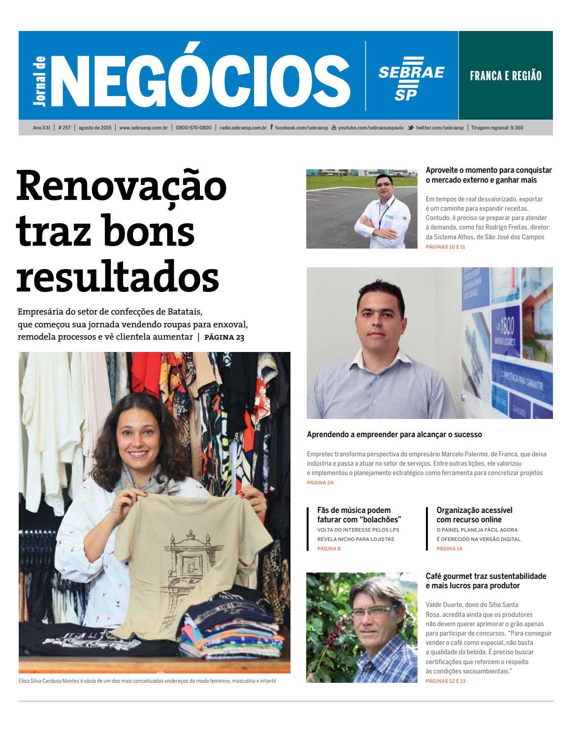 5fdbee770 Jornal de Negócios Sebrae-SP - Agosto de 2015 - Franca e região by  Sebrae-SP - issuu