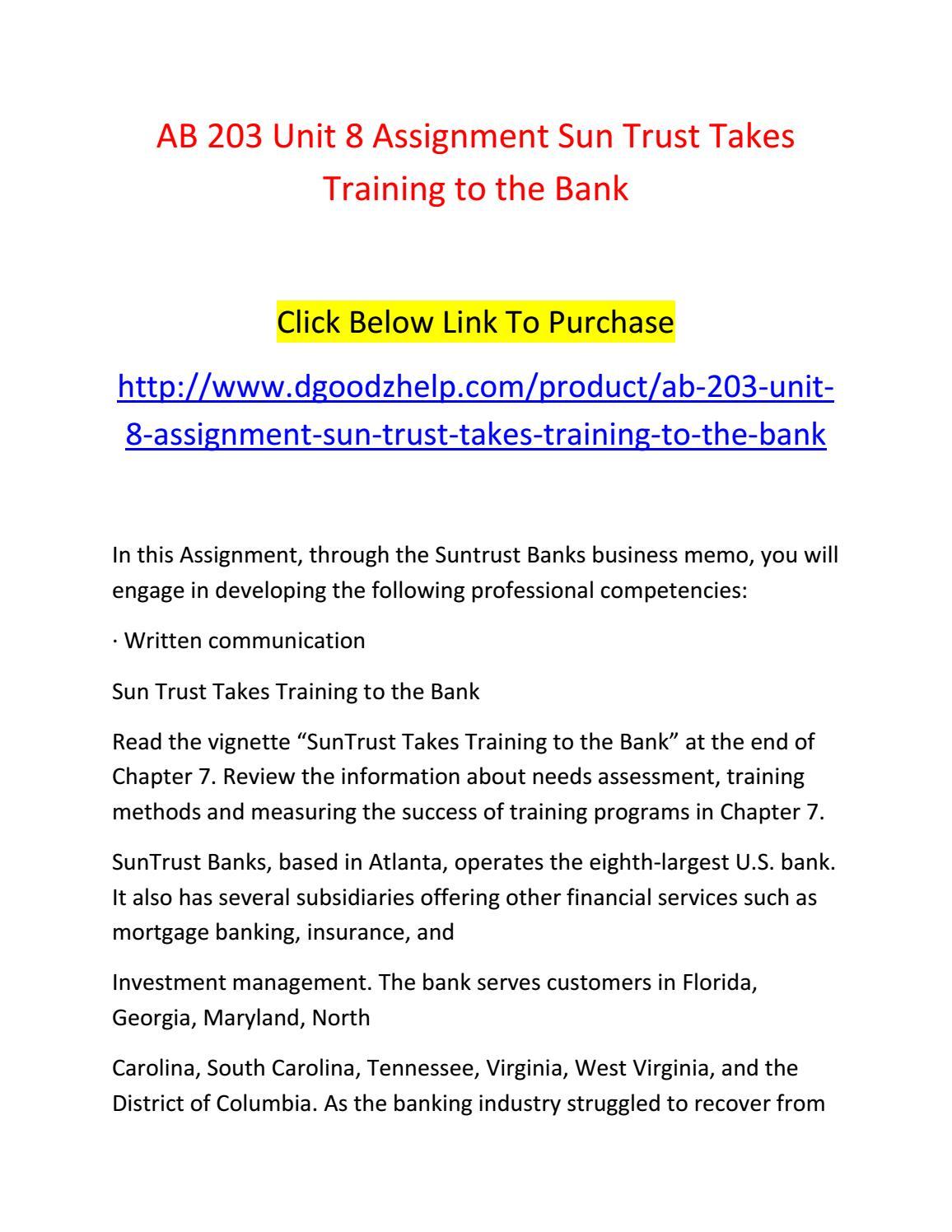 unit assigment training
