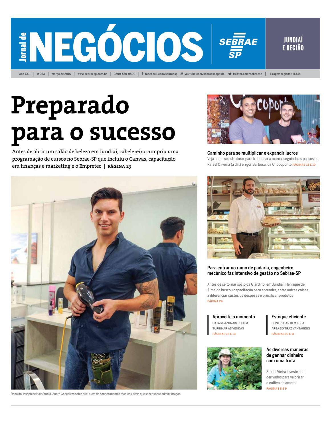 Jornal De Neg Cios Sebrae Sp 01 De Mar O De 2016 Jundiai E
