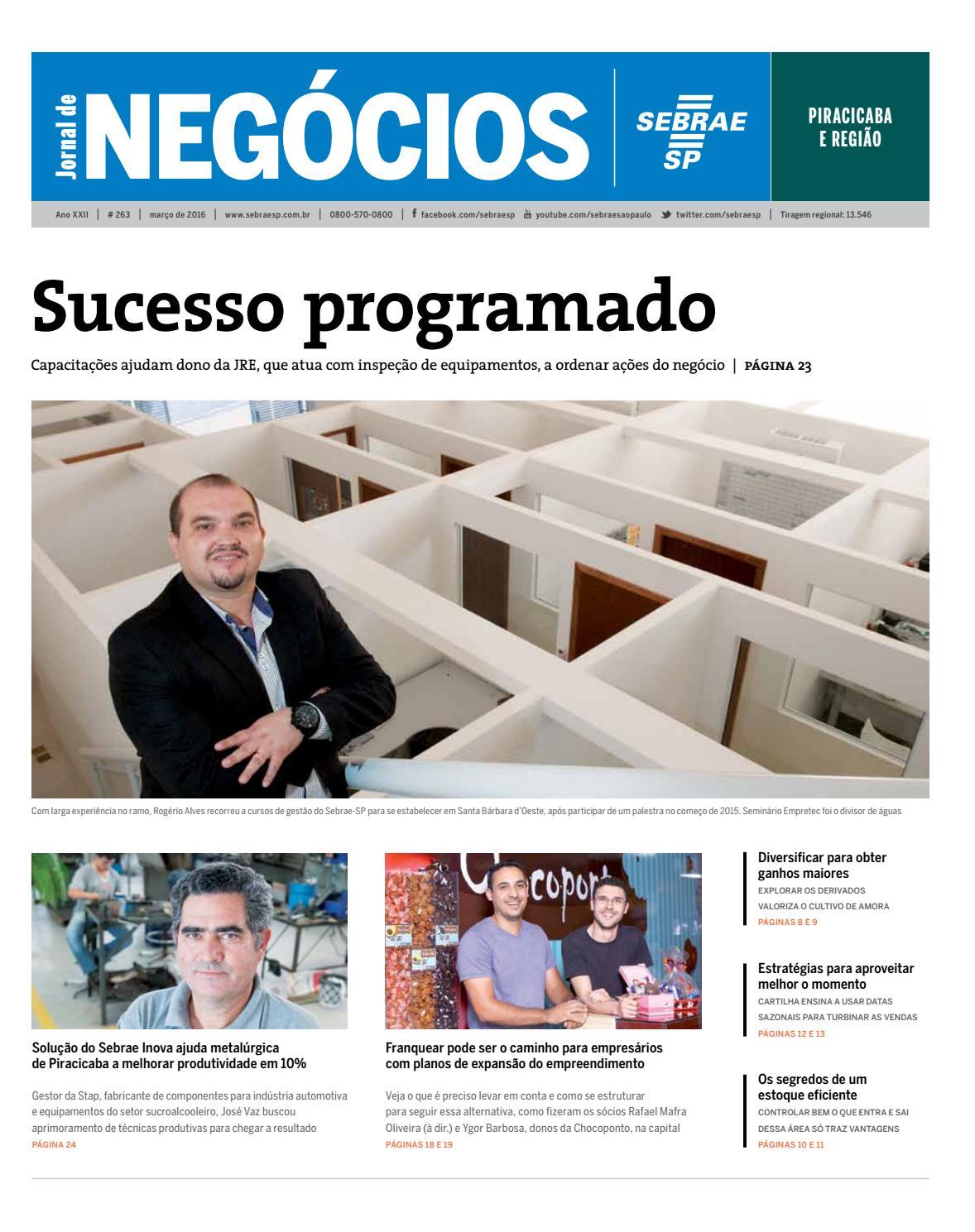 Jornal De Neg Cios Sebrae Sp 01 De Mar O De 2016 Piracicaba E