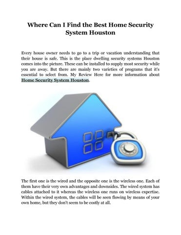 Where Can I Find The Best Home Security System Houston By Stanleyharmon Issuu