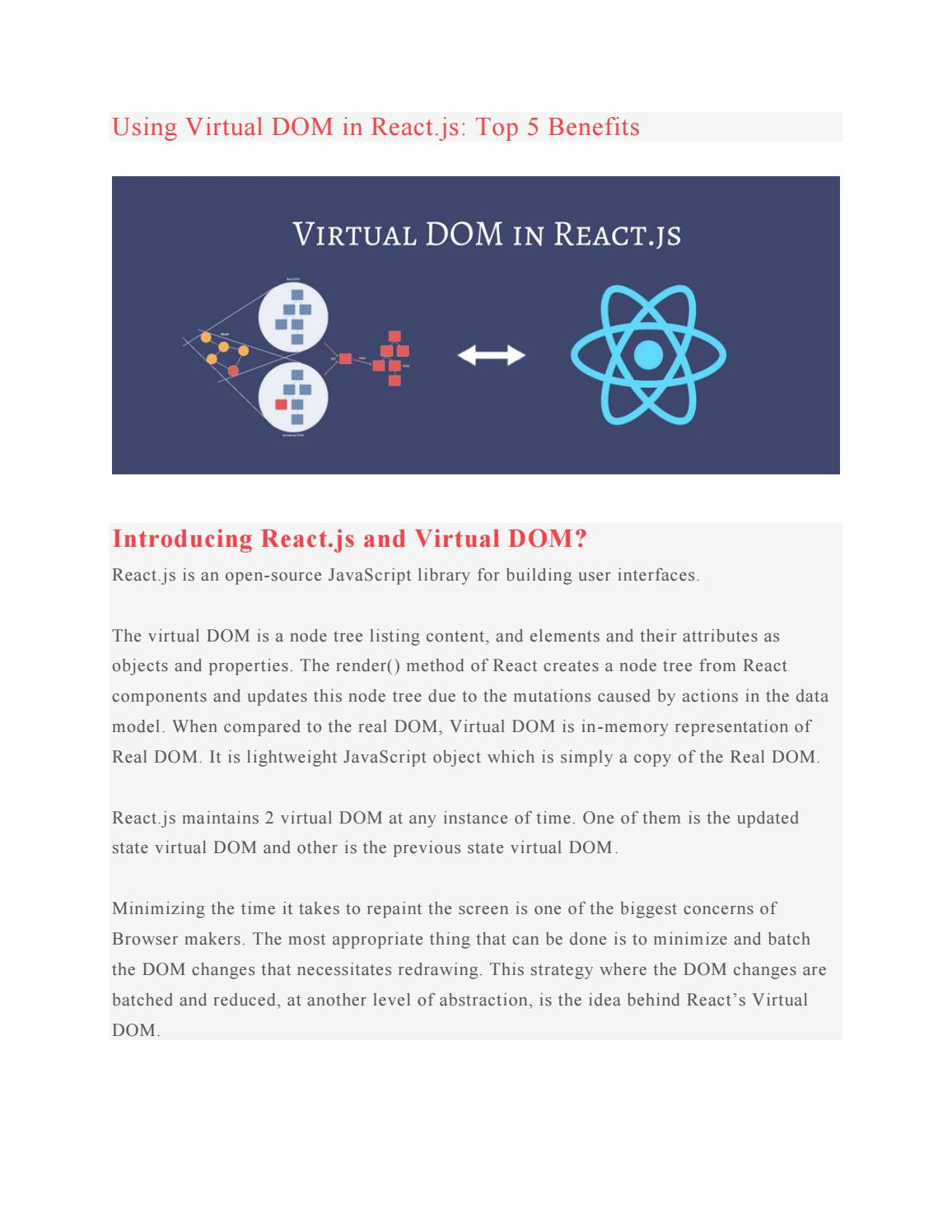Using virtual dom in react js top 5 benefits by Rigeliets
