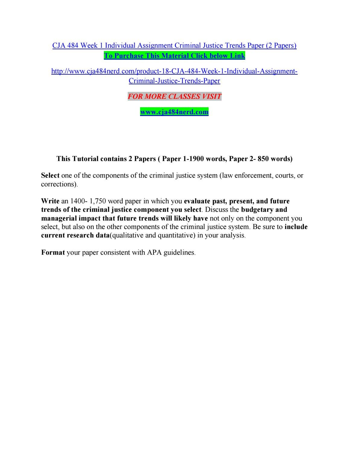 criminal justice trends evaluation essay example