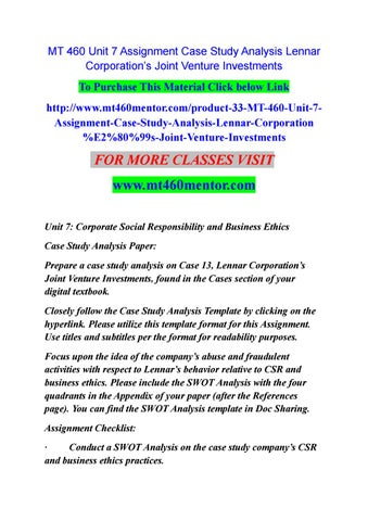 Mt  Unit  Assignment Case Study Analysis Lennar CorporationS