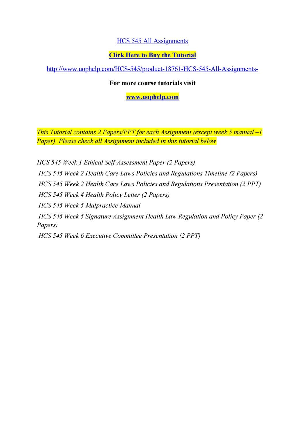 ethical healthcare issue hcs 545 Hcs 545 week 1 ethical self assessment paper analyze the relationship of these principles to current health care issues format your paper according to apa.