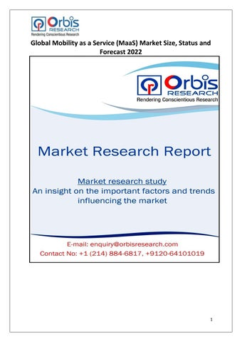 Global Mobility as a Service (MaaS) Market 2017 Primary Research