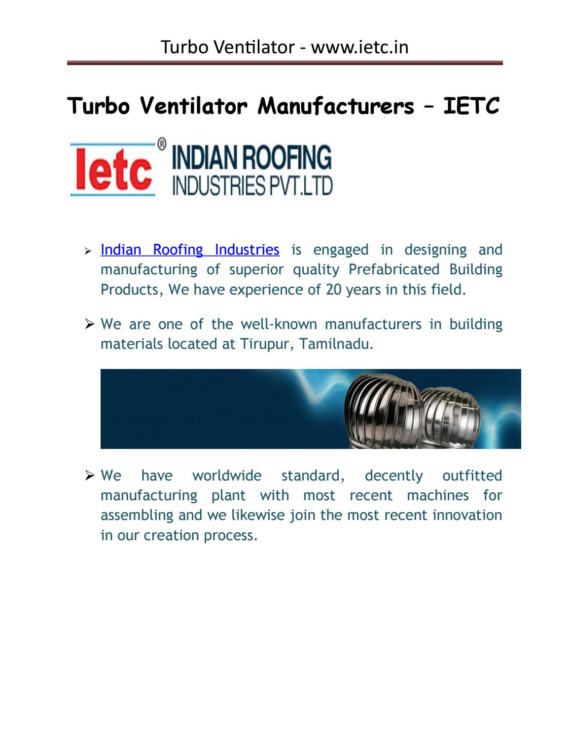 Turbo ventilator by Ietc Roofing - issuu