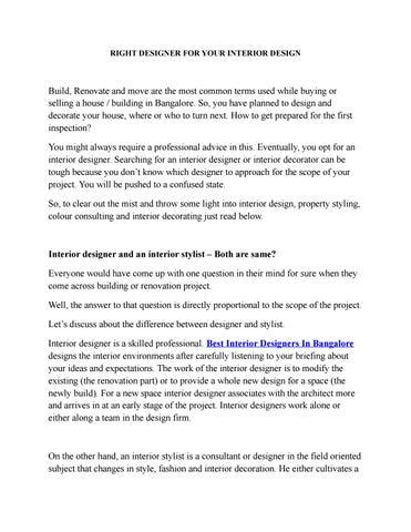RIGHT DESIGNER FOR YOUR INTERIOR DESIGN