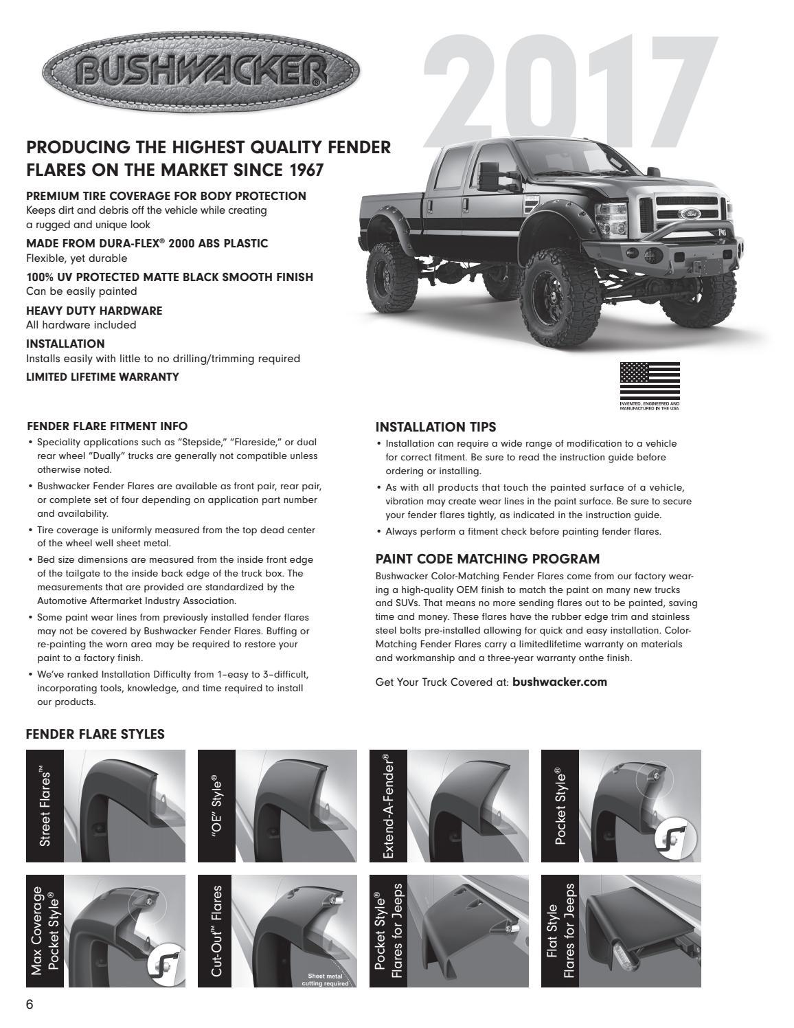Bushwacker App Guide 2017 By Jamie Issuu Installing Jeep Fender Flares