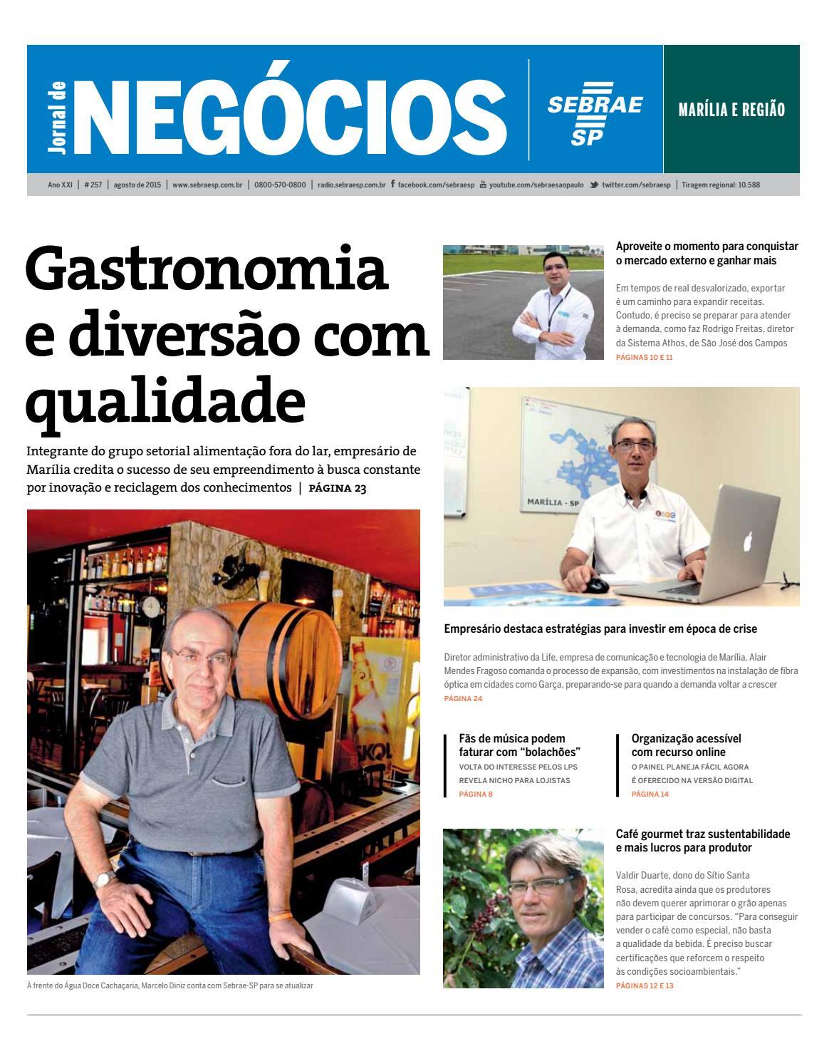 4c07556e10b0c Jornal de Negócios Sebrae-SP - Agosto de 2015 - Marília e região by Sebrae-SP  - issuu