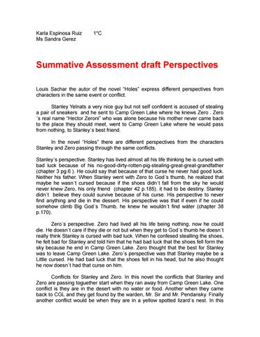 Karla Espinosa Ruiz Holes Summative Assessment By Karla Espinosa  Issuu