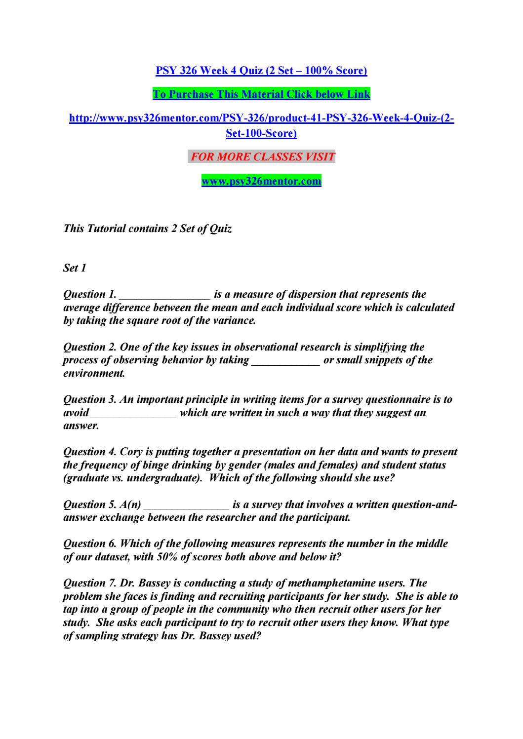 Quiz 2 psy - Essay Sample - August 2019 - 1146 words