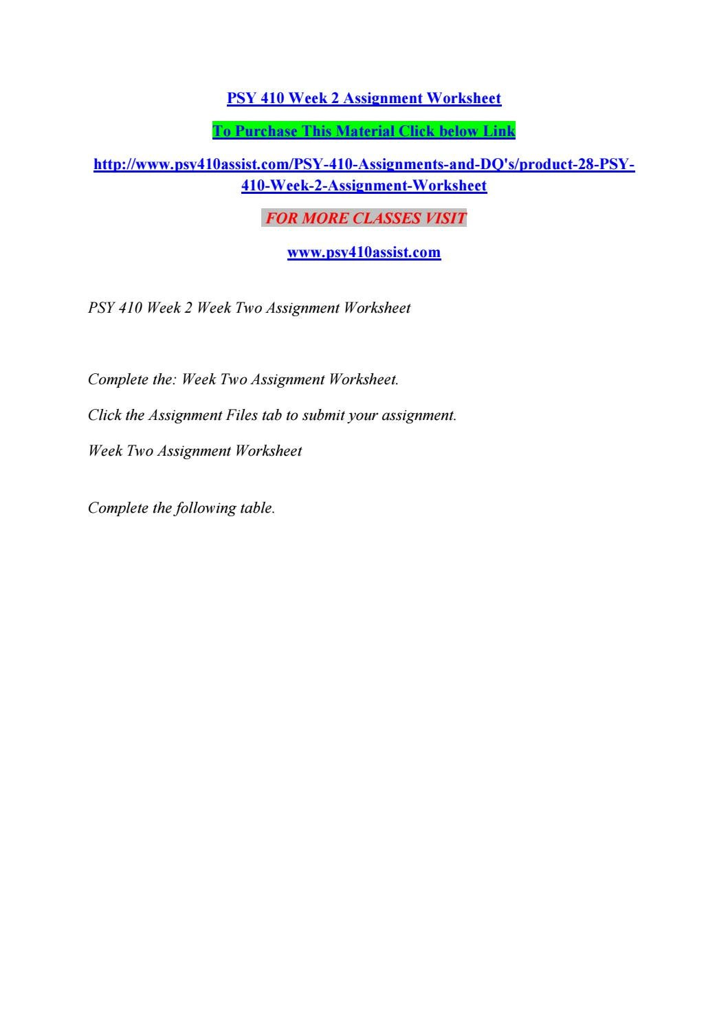 psy410 r4 week 1 assignment worksheet
