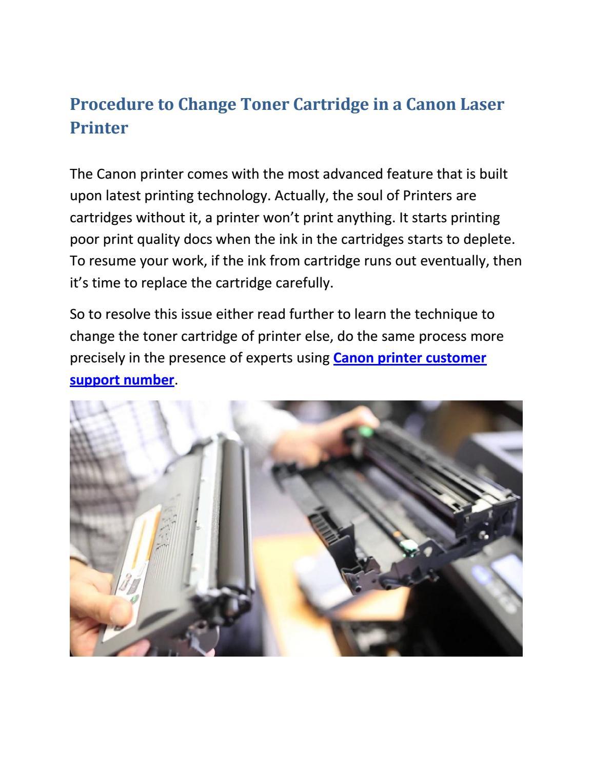 Procedure to change toner cartridge in a canon laser printer