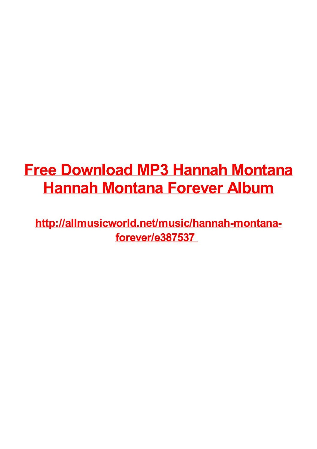 Free Download Mp3 Hannah Montana Hannah Montana Forever Album By