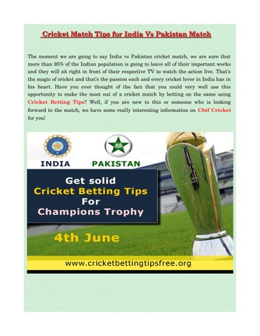 1ac30c7204ad Cricket match tips for india vs pakistan match
