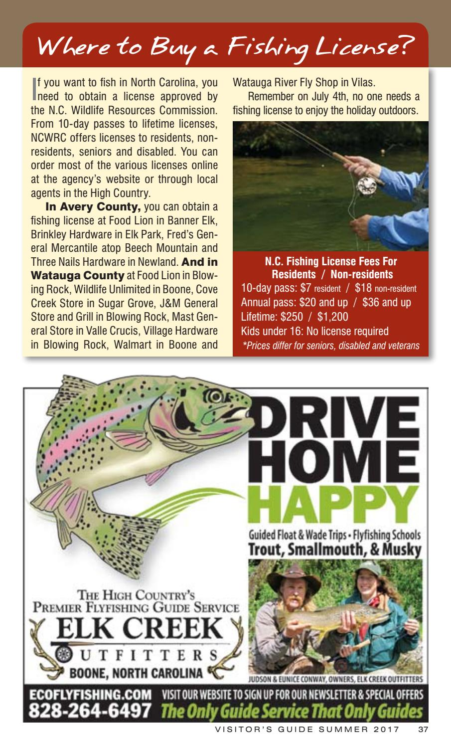 High country visitor 39 s guide summer 2017 by high country for Nc lifetime fishing license