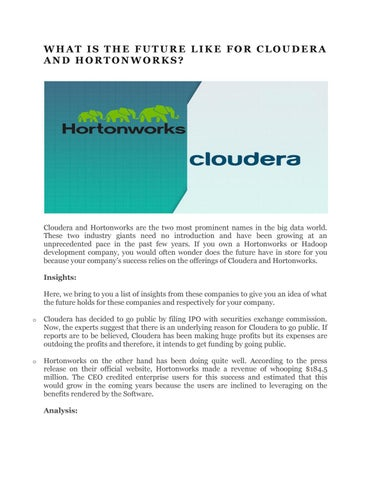 What is the future like for cloudera and hortonworks by