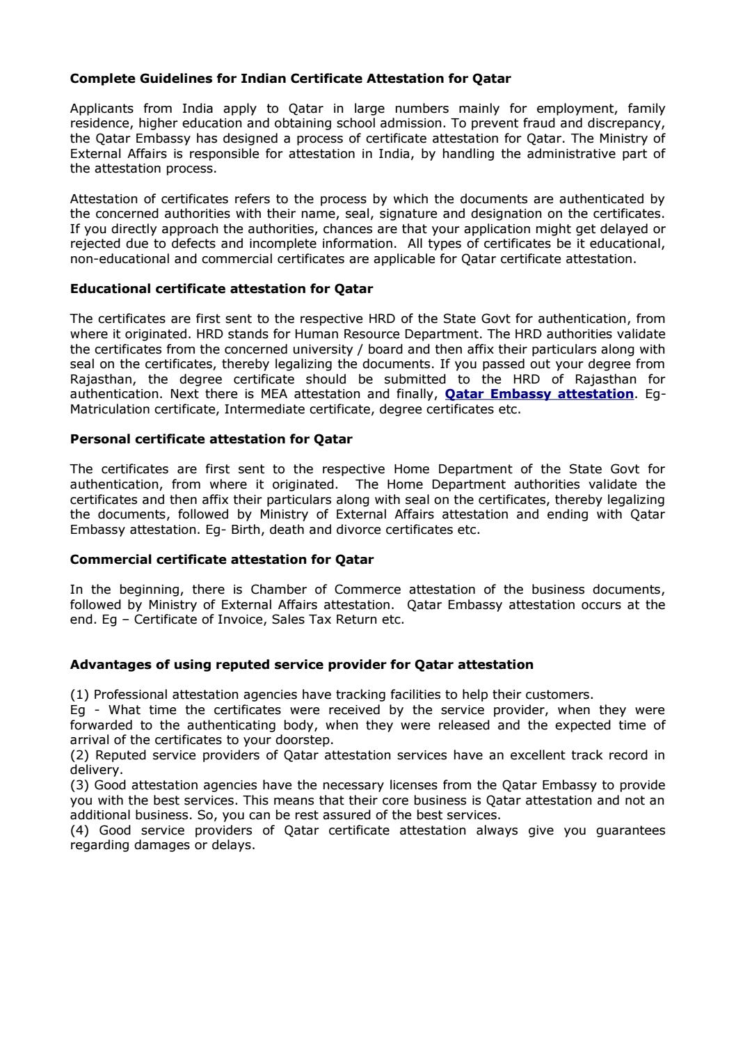 Complete guidelines for indian certificate attestation for qatar complete guidelines for indian certificate attestation for qatar by superb enterprises issuu aiddatafo Images