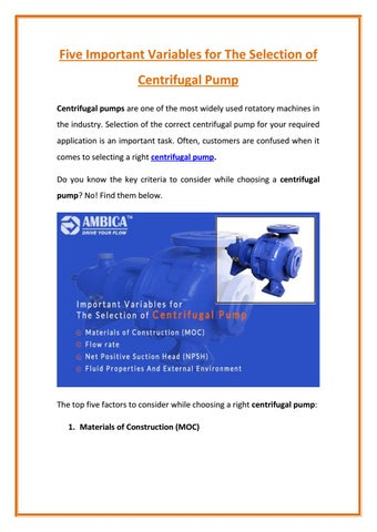 Important Features and Uses of Centrifugal Pumps by Ambica