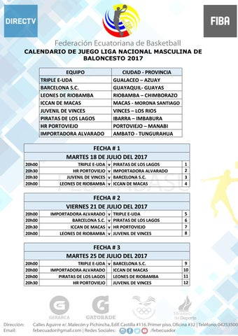 Calendario Liga Masculina 2017 By Layana Juan Issuu