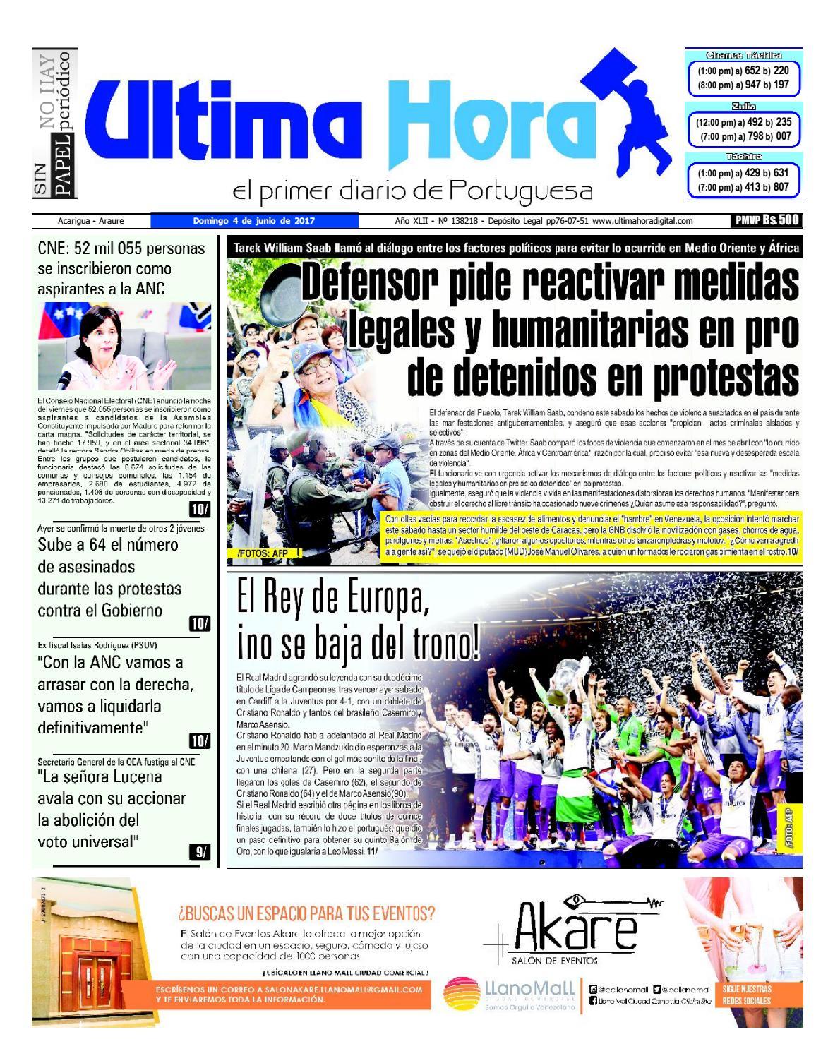 Edici N 04 06 2017 By Ultima Hora El Primer Diario De Portuguesa  # Muebles Umbe Horario