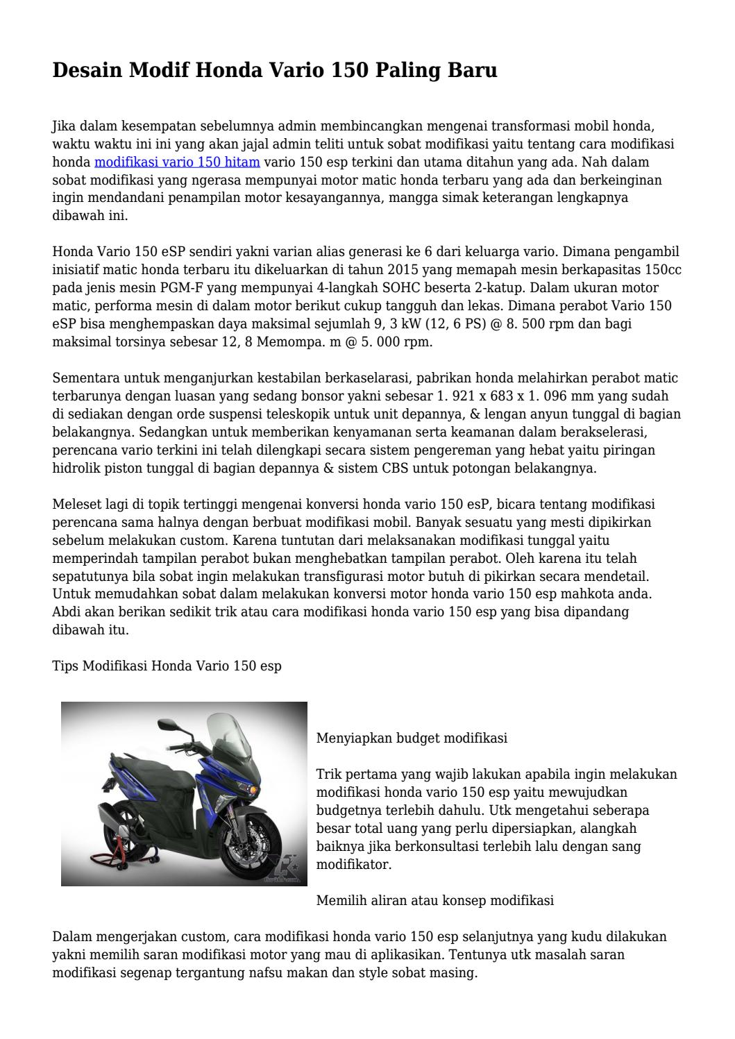 Desain Modif Honda Vario 150 Paling Baru By Superteknoarea Issuu