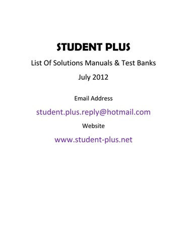 Solution Manuals Test Banks List July 2012 Less Than 500