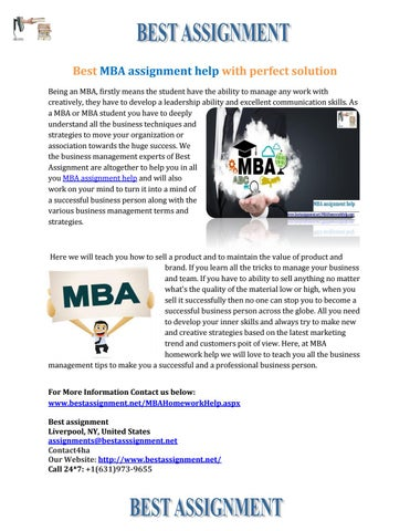mba assignment help by bestassignment issuu best mba assignment help perfect solution being an mba firstly means the student have the ability to manage any work creatively