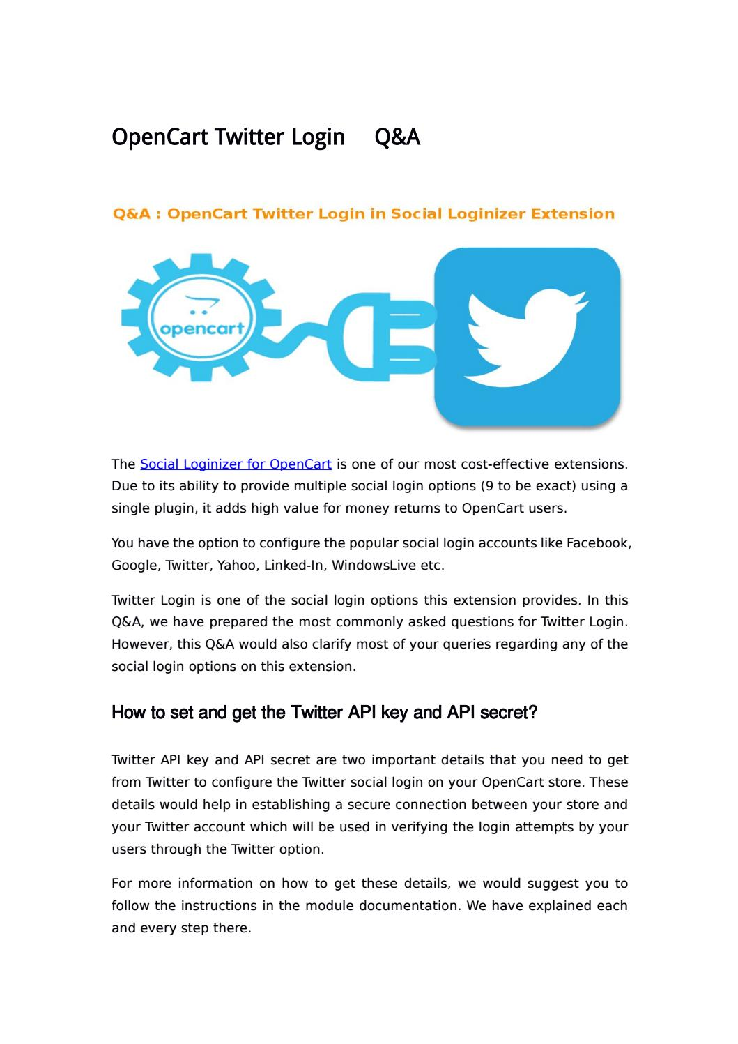 OpenCart Twitter Login- Q&A by Knowband - issuu