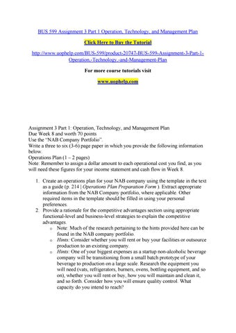 Bus 599 Assignment 3 Part 1 Operation, Technology, And Management
