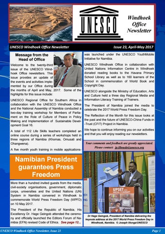 Unesco Windhoek Newsletter Issue  By Joseph Clymax Illonga  Issuu