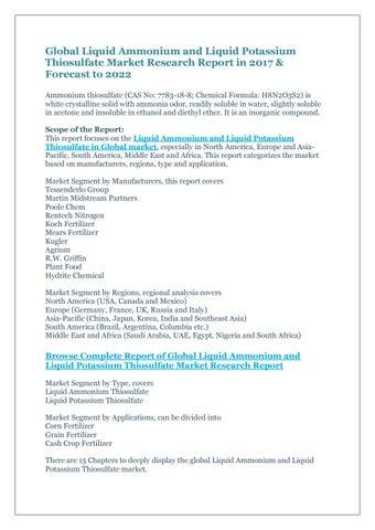 Global liquid ammonium and liquid potassium thiosulfate