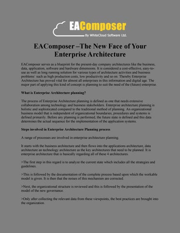 Eacomposer the new face of your enterprise architecture by eacomposer x20acx201cthe new face of your enterprise architecture eacomposer serves as a blueprint for the present day company architectures like the malvernweather Choice Image