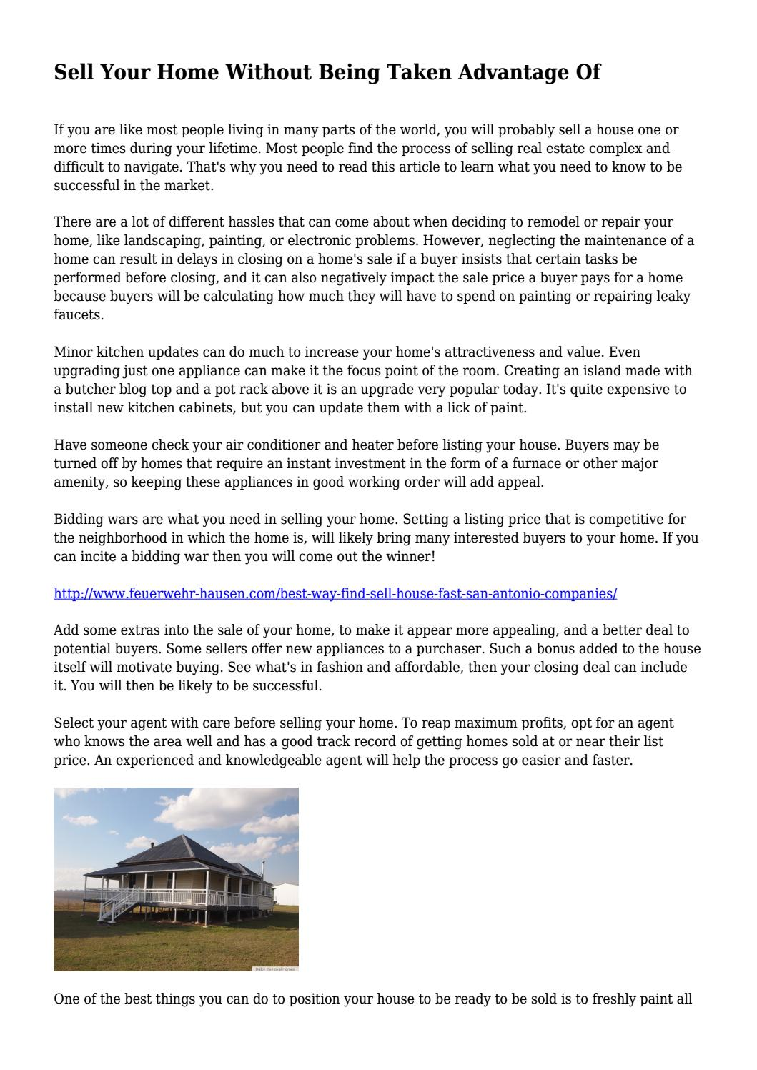 Sell Your Home Without Being Taken Advantage Of    by