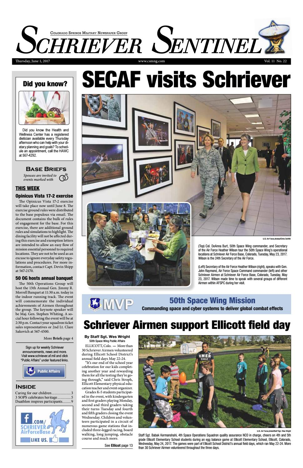 Schriever Sentinel June 1 2017 By Colorado Springs Military