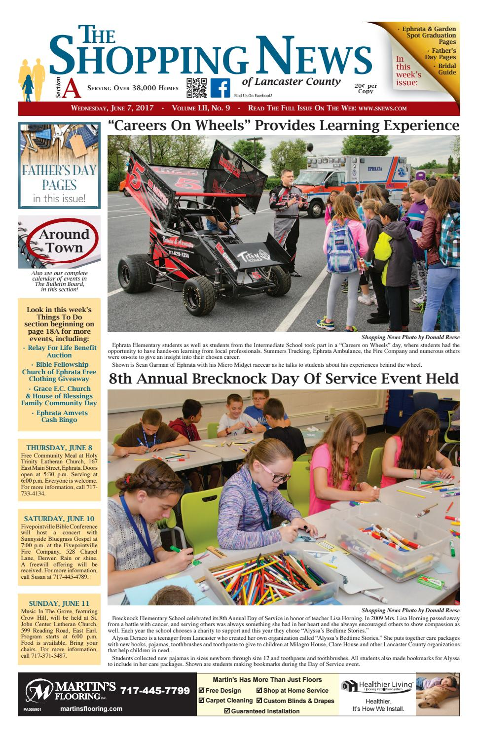 General Info Founded more than 40 years ago, The Shopping News of Lancaster County provides local news pertaining to the communities of Lancaster County, Penn., including announcements of wedding and engagements, public auctions, local weather and community events.