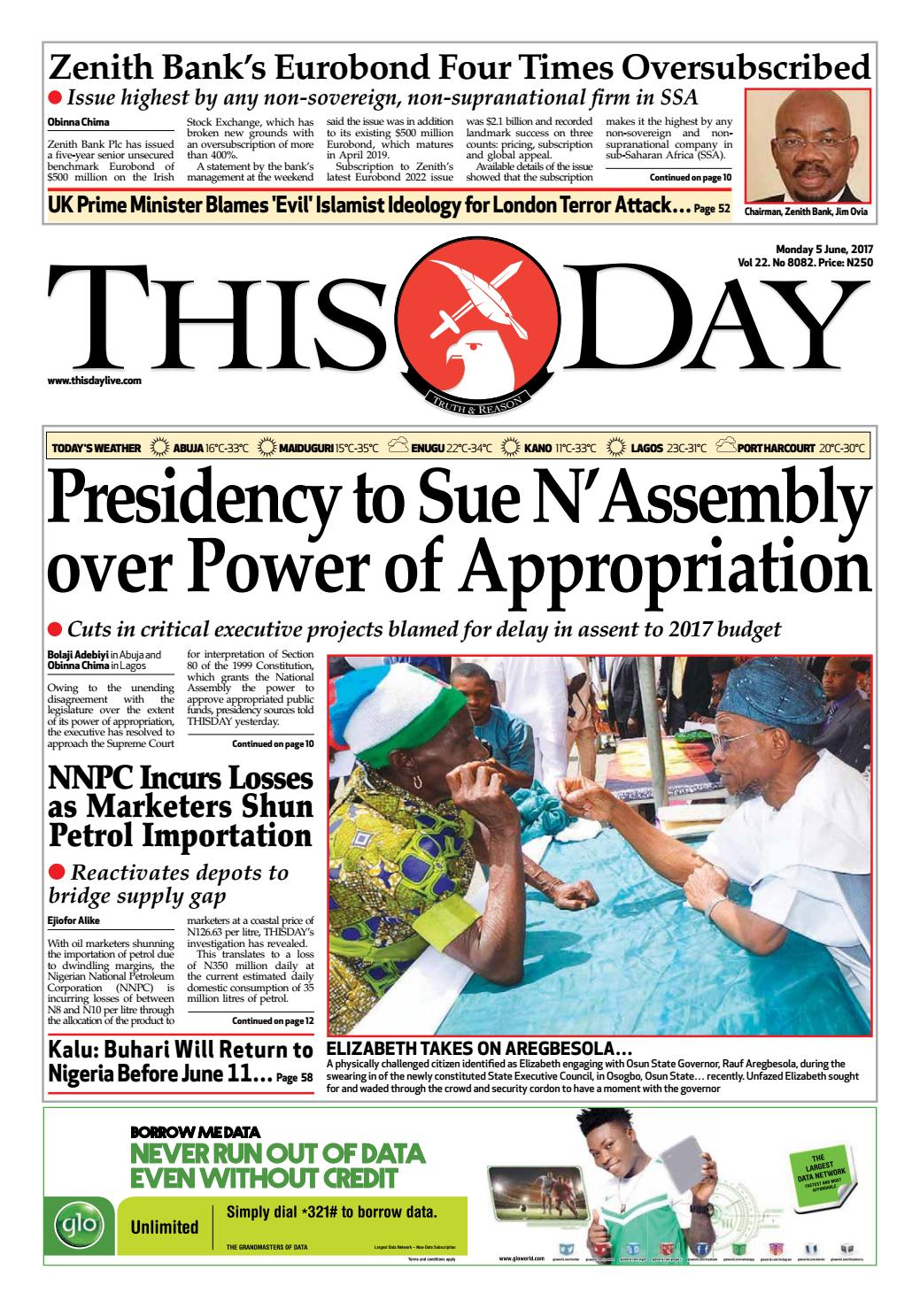 Monday 5th June 2017 By THISDAY Newspapers Ltd Issuu