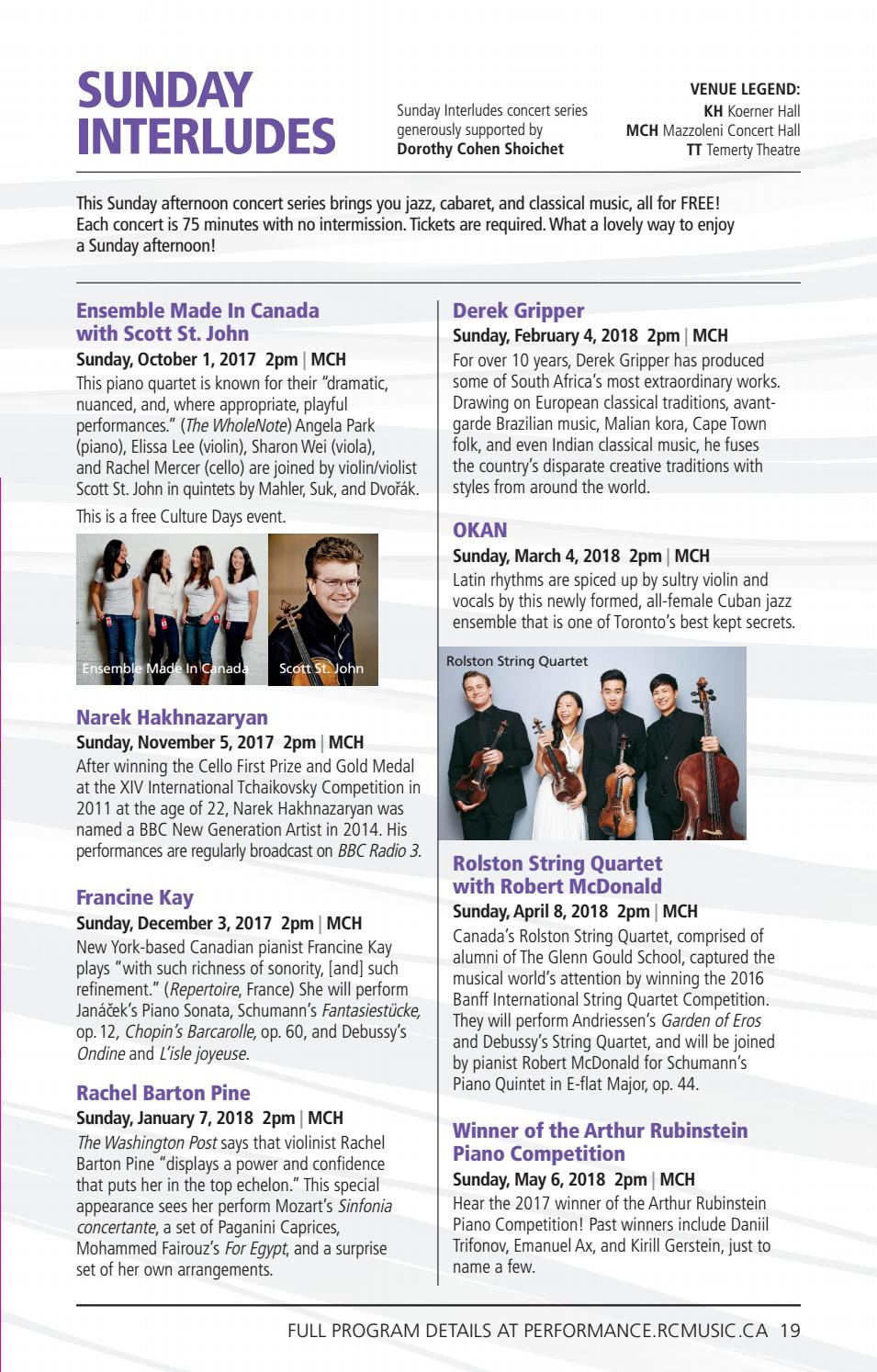 The Royal Conservatory 2017 18 Concert Season Brochure by