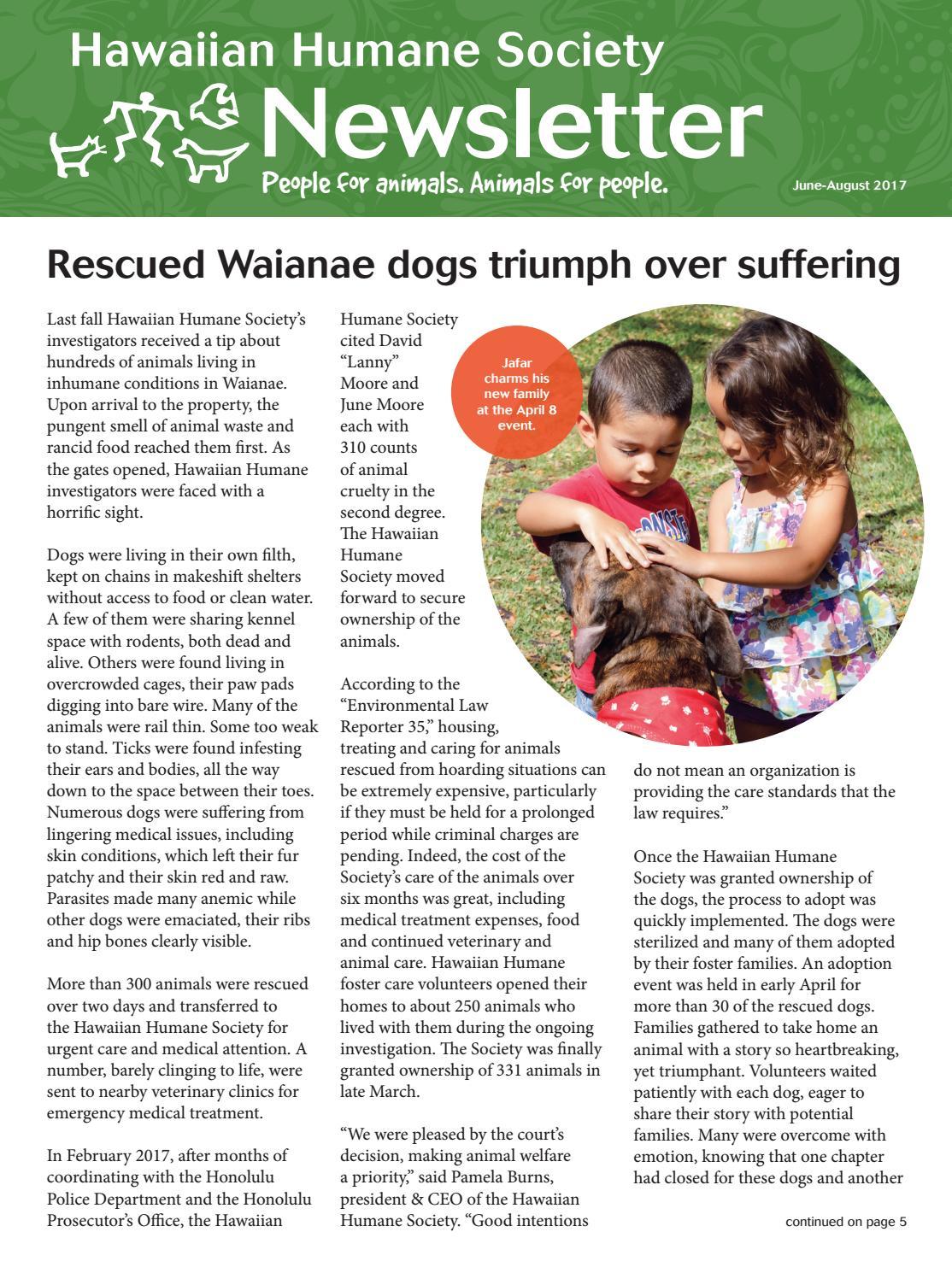 Hawaiian Humane Society June August Newsletter By Hawaiian