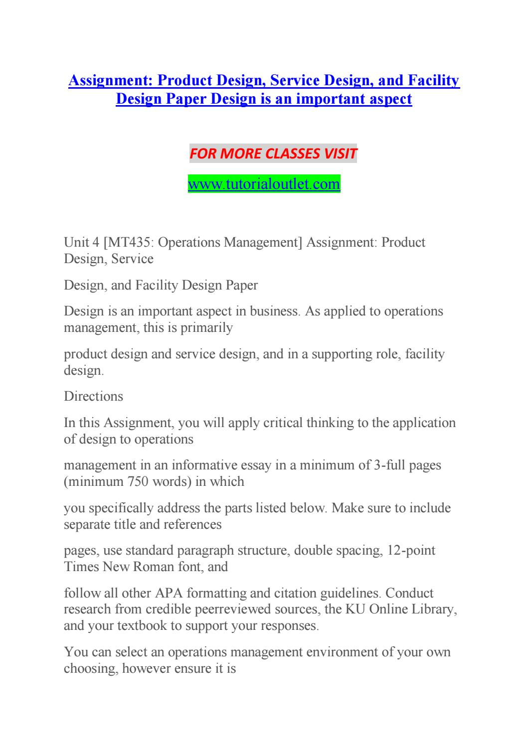 Product and service design essay