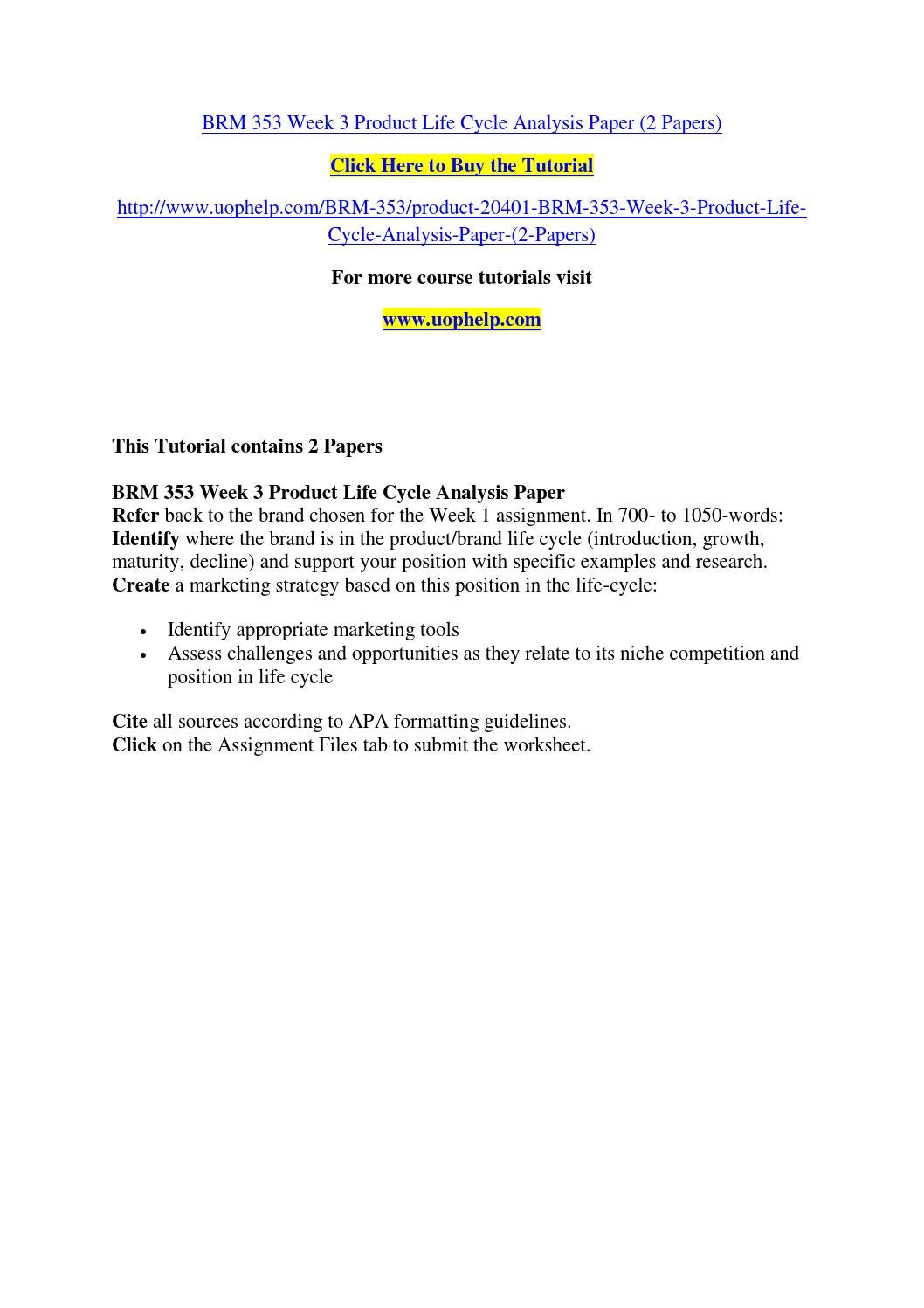 Worksheets Product Life Cycle Worksheet brm 353 week 3 product life cycle analysis paper 2 papers by dahlia82 issuu