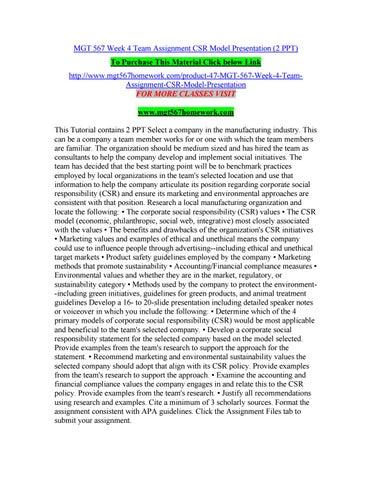 Mgt 567 week 4 team assignment csr model presentation (2 ppt