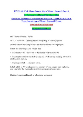 Memory Concept Map.Psych 640 Week 4 Team Concept Map Of Memory System 2 Papers By