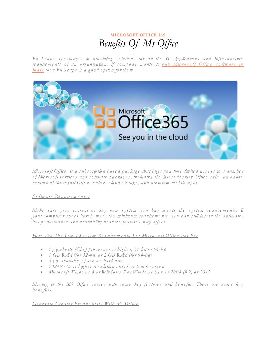 Benefits of Ms Office by Bitscape - issuu