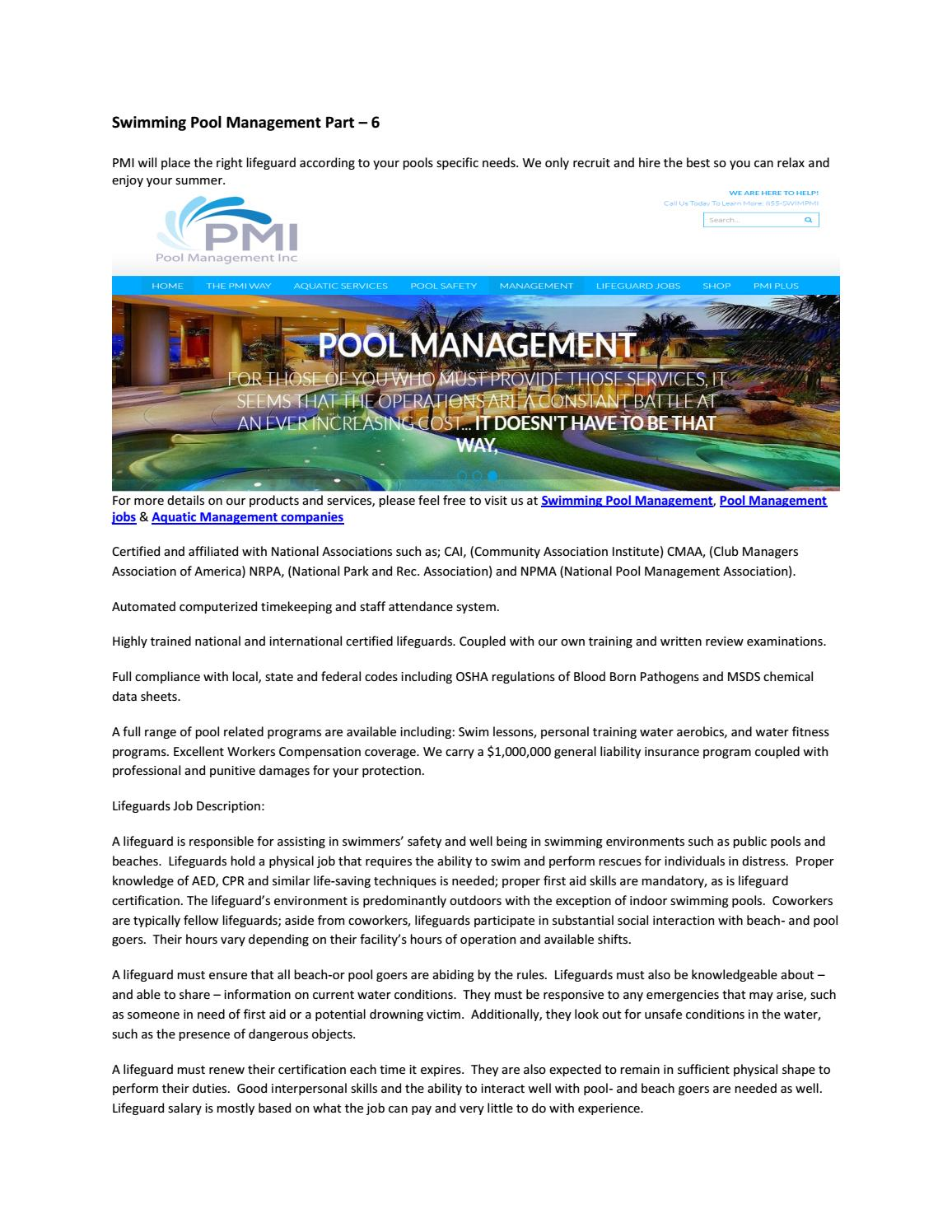 Swimming pool management part 6 by sonalisharma issuu 1betcityfo Image collections