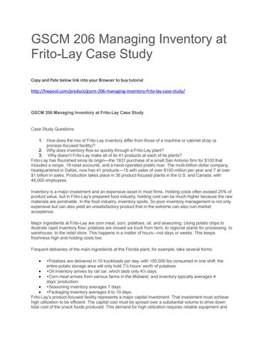 Gscm 206 managing inventory at frito lay case study by